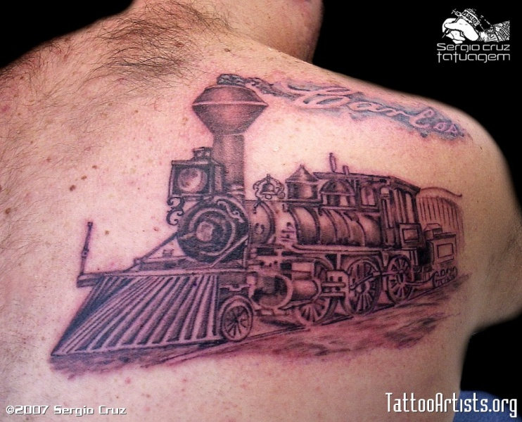 Sketch style colored scapular tattoo of train with lettering