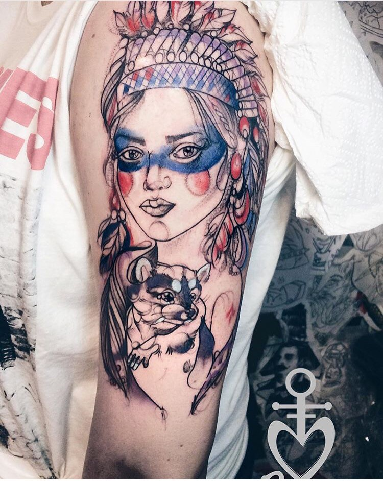 Sketch style colored shoulder tattoo of Indian woman with little mouse