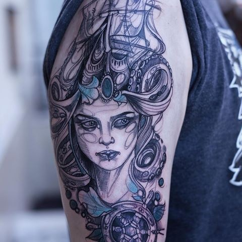 Sketch style colored shoulder tattoo of fantasy woman stylized with sailing ship