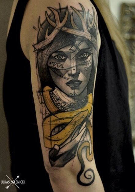 Sketch style colored shoulder tattoo of fantasy woman with horns and snake