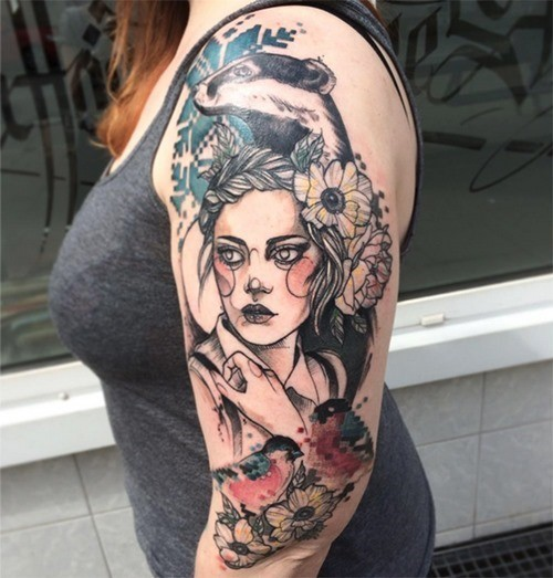 Sketch style colored shoulder tattoo of beautiful woman with various animals and flowers