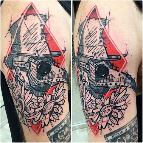 Sketch style colored shoulder tattoo of plague doctor portrait with flowers
