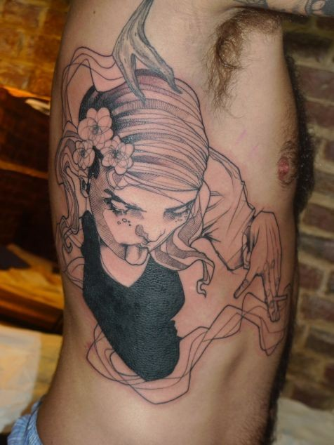 Sketch style colored side tattoo of creepy woman with flowers