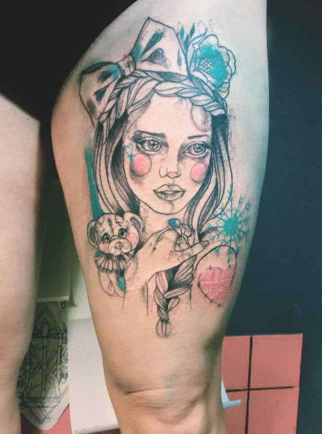 Sketch style colored thigh tattoo of beautiful woman with bear toy and flowers