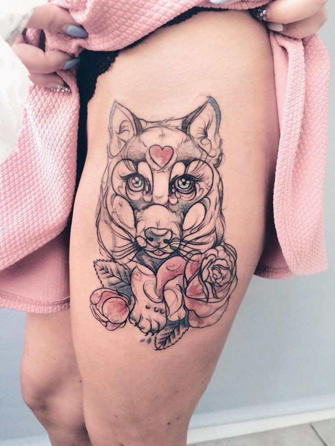 Sketch style colored thigh tattoo of little wolf with pink heart and flowers