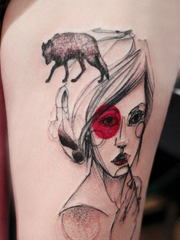 Sketch style colored thigh tattoo of woman face and wolf