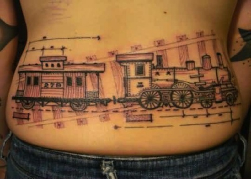 Sketch style cool designed waist tattoo of old train