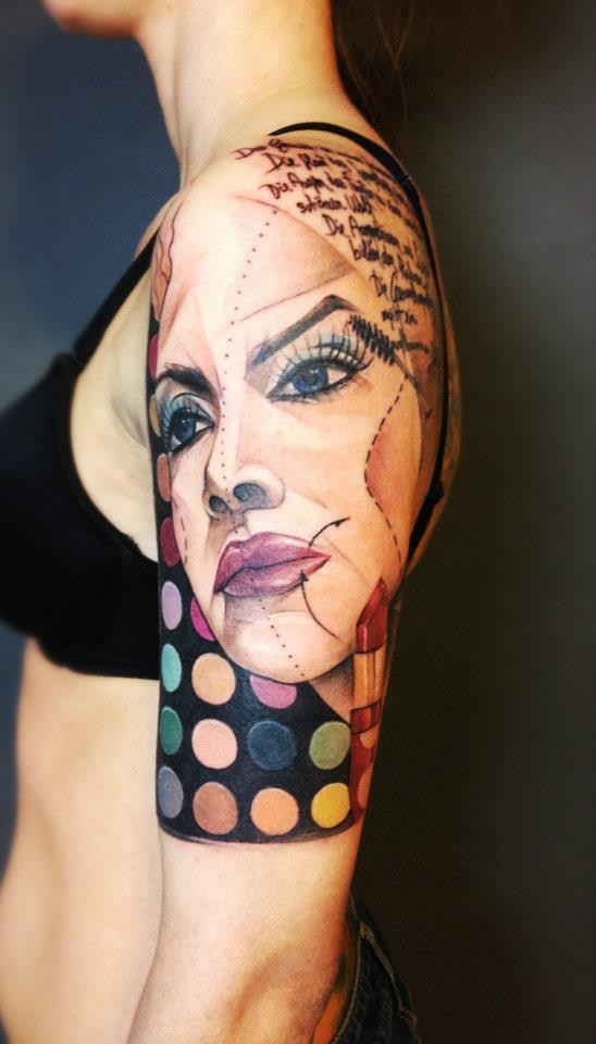 Sketch style marvelous colored shoulder tattoo of woman face
