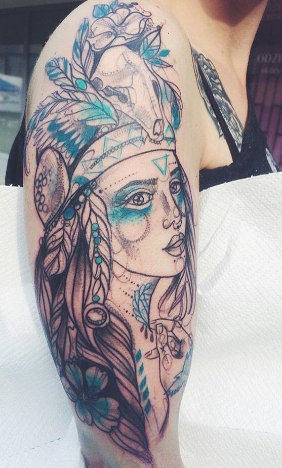 Sketch style unfinished shoulder tattoo of Indian woman with feather