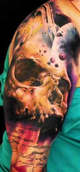 Watercolour Skull and space tattoo