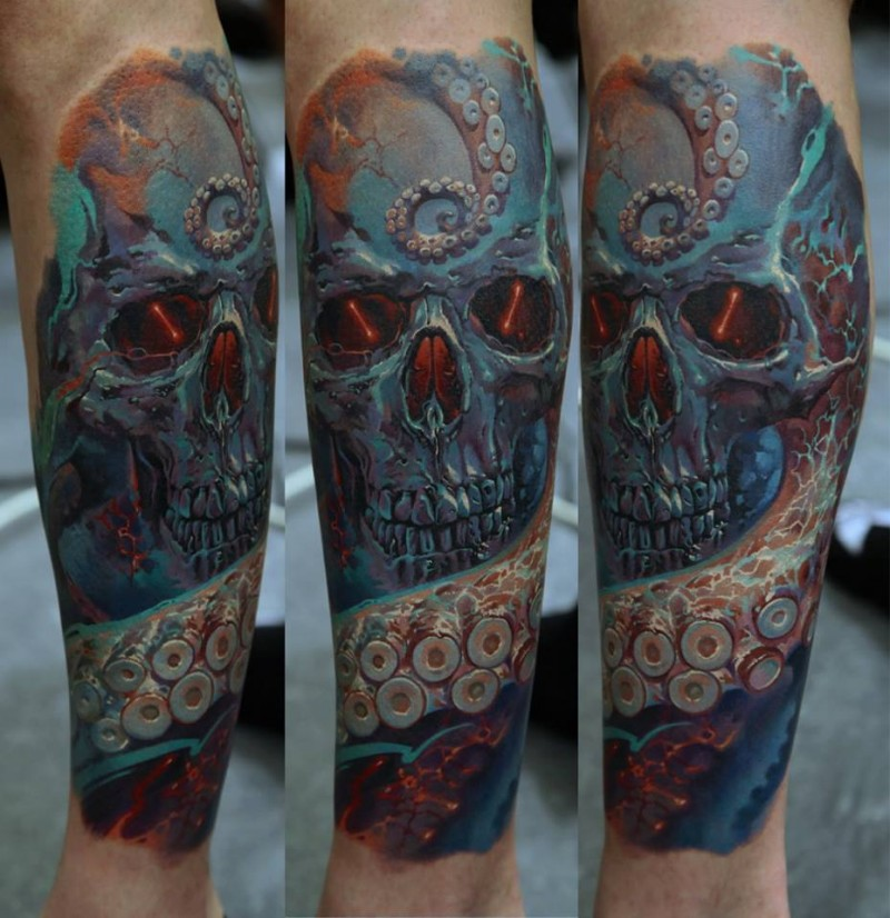 Skull and tentacles of an octopus tattoo on forearm by Dmitriy Samohin