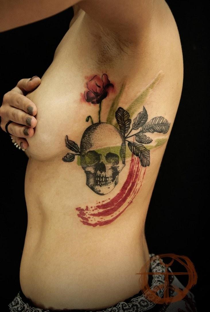 Skull with rose amazing tattoo by koraykaragozler