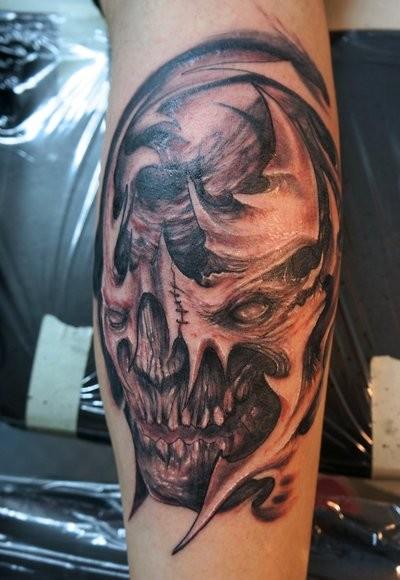 Monster skull tattoo by graynd