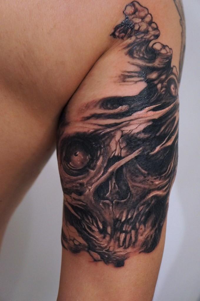 Biohazard skull tattoo by graynd
