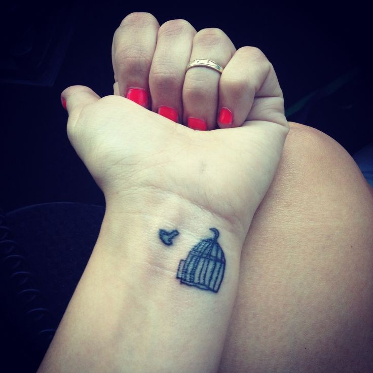 Small birds tattoo with cage on wrist