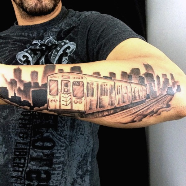 Small black and gray style modern city train tattoo on forearm