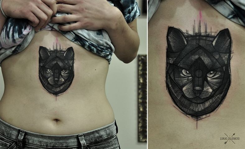 Small black ink belly tattoo of cat face