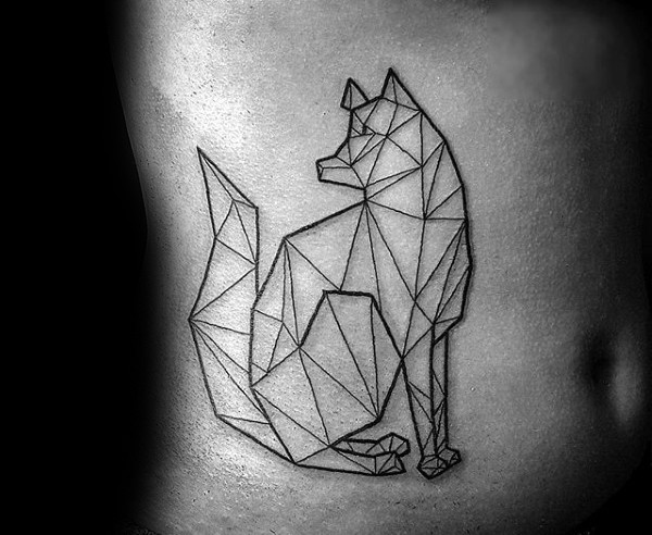 Small black ink belly tattoo of wolf shaped figure