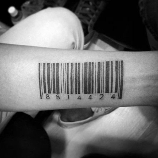 Small black ink forearm tattoo of barcode