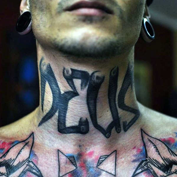 Small black ink lettering tattoo on neck