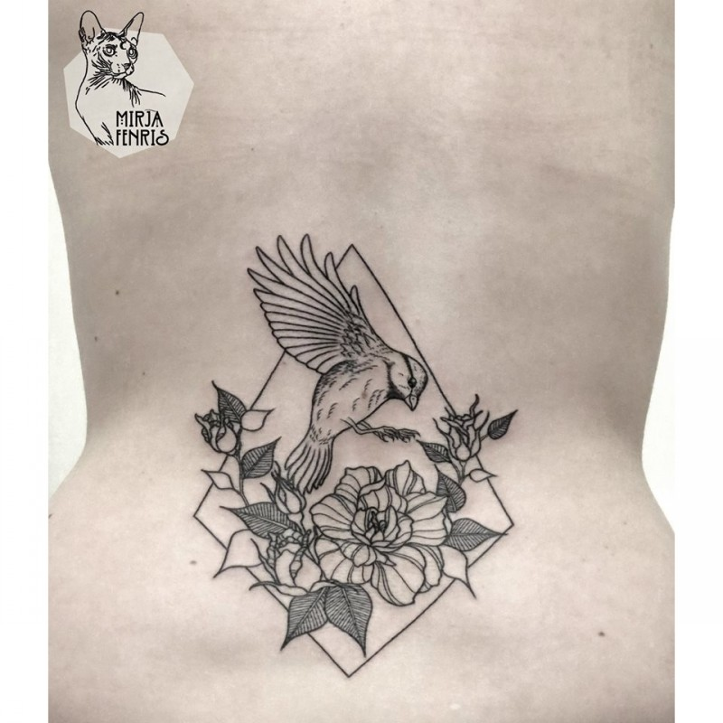 Small black ink waist tattoo of bird with flowers