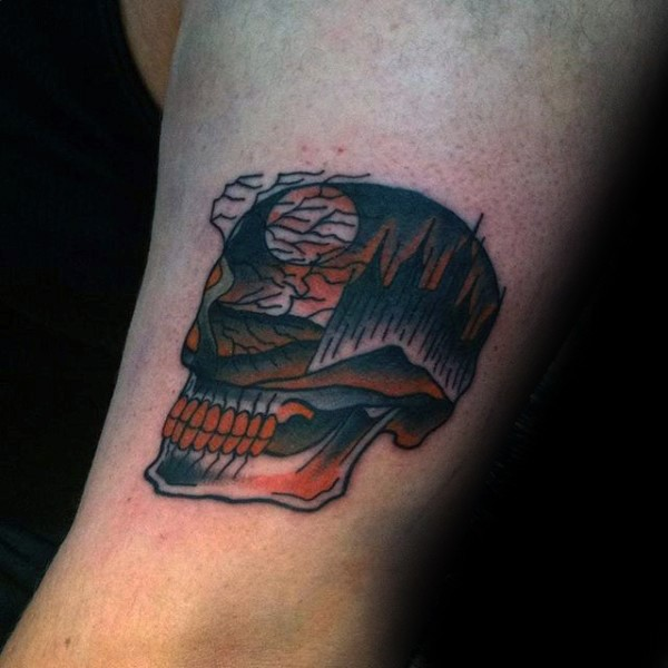 Small cartoon style colored arm tattoo of skull with trees for Small cartoon tattoo designs