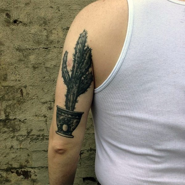d43b1c2c8f2f2 Small colored arm tattoo of cactus in pot - Tattooimages.biz