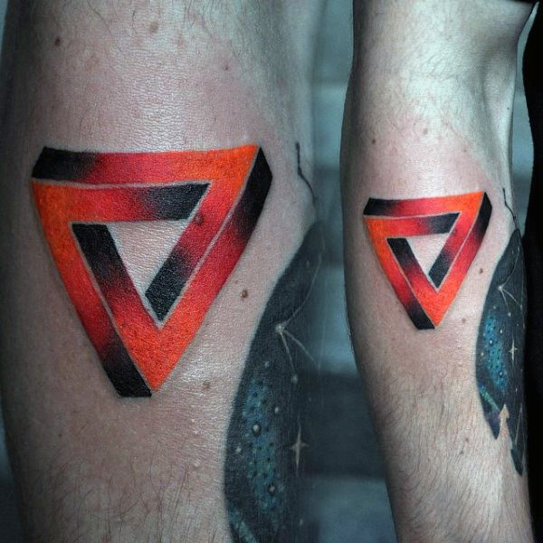 Small colored forearm tattoo of mystical symbol