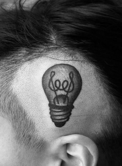 Small funny looking head tattoo of bulb