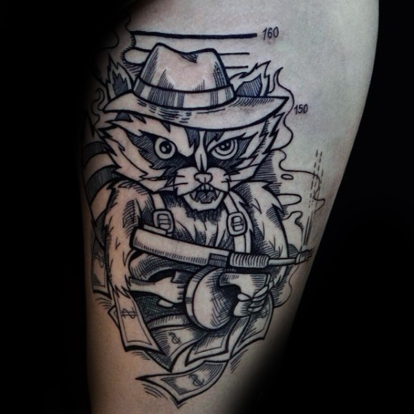 Small homemade style arm tattoo of evil raccoon with Tommy gun