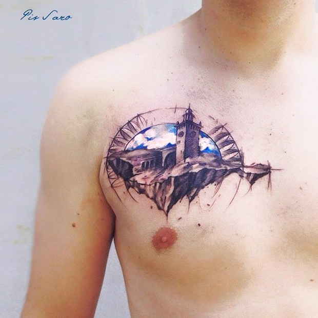 Small illustrative style chest tattoo old mountain castle
