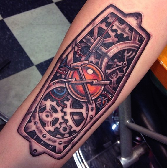 Small illustrative style colored mechanical arm tattoo