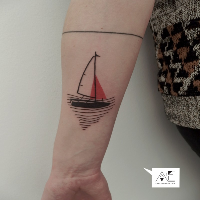 Small illustrative style forearm tattoo of sailing ship with line