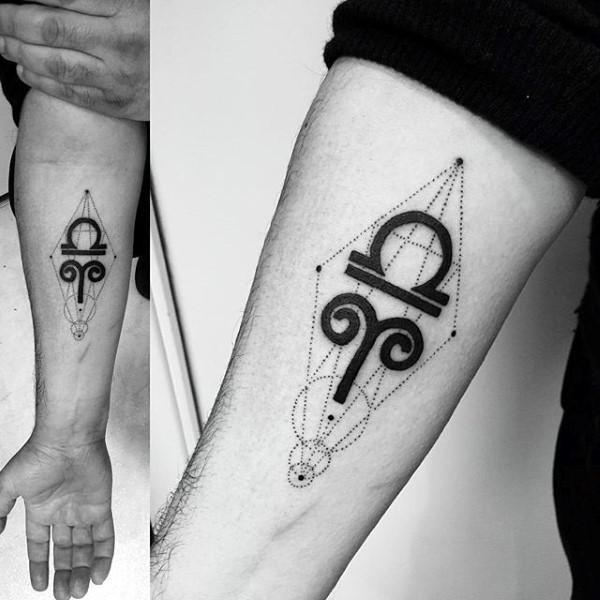 Small mystical black ink geometrical tattoo fo with zodiac symbols