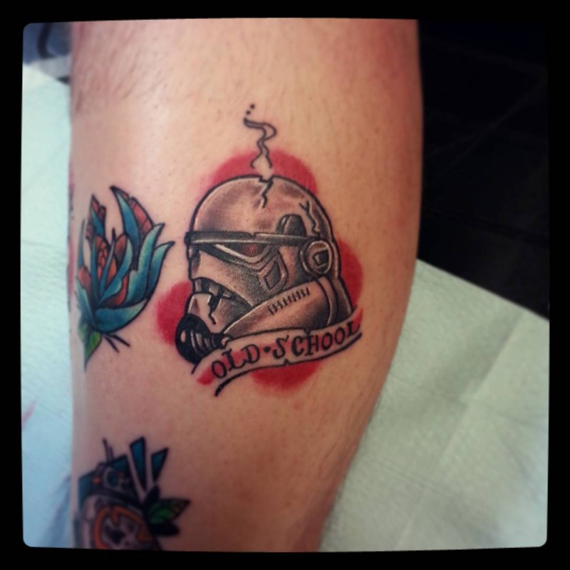 Small old school style storm troopers helmet with lettering