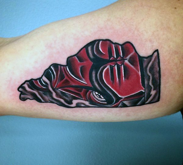 Small red colored biceps tattoo of bull emblem tattoo
