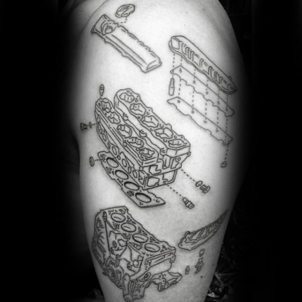 Small schema like black ink shoulder tattoo of engine parts