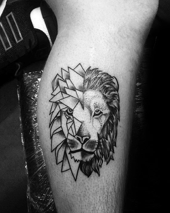 small simple dot style leg tattoo of lion head. Black Bedroom Furniture Sets. Home Design Ideas