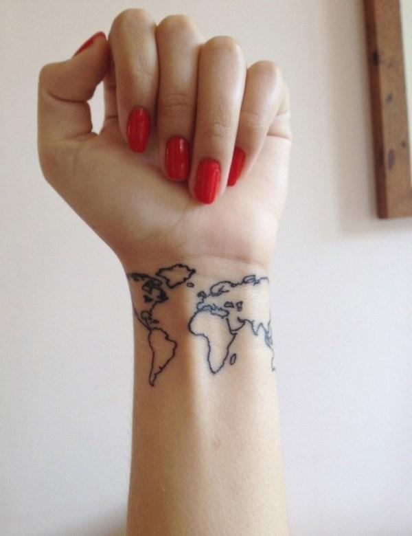 Small size dark black ink world map contour tattoo on wrist small size dark black ink world map contour tattoo on wrist gumiabroncs Image collections