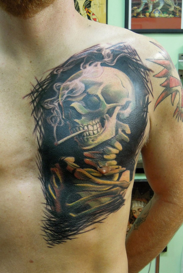 Smoking skeleton tattoo by viptattoo
