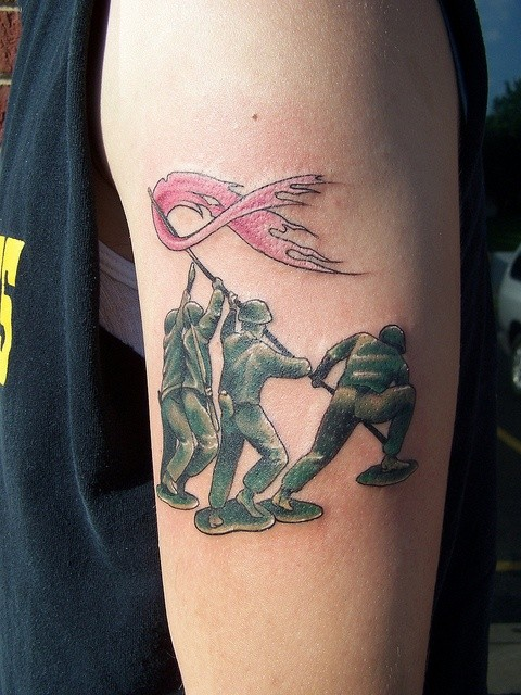 Soldiers with flag tattoo on arm