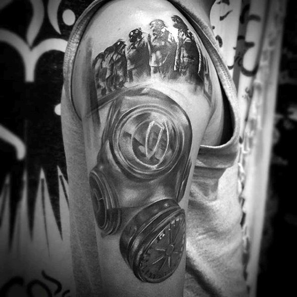 Spectacular 3D style very detailed shoulder tattoo of man in gas mask