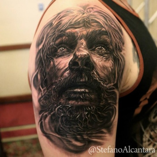 Spectacular 3D style very detailed shoulder tattoo of woman with beard