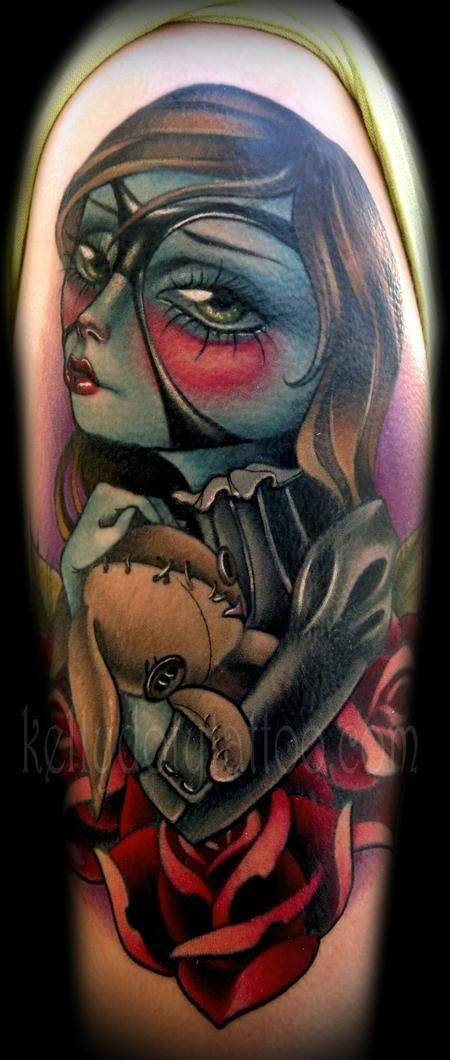 Spectacular accurate painted and detailed colored shoulder tattoo on cute little witch with bunny toy
