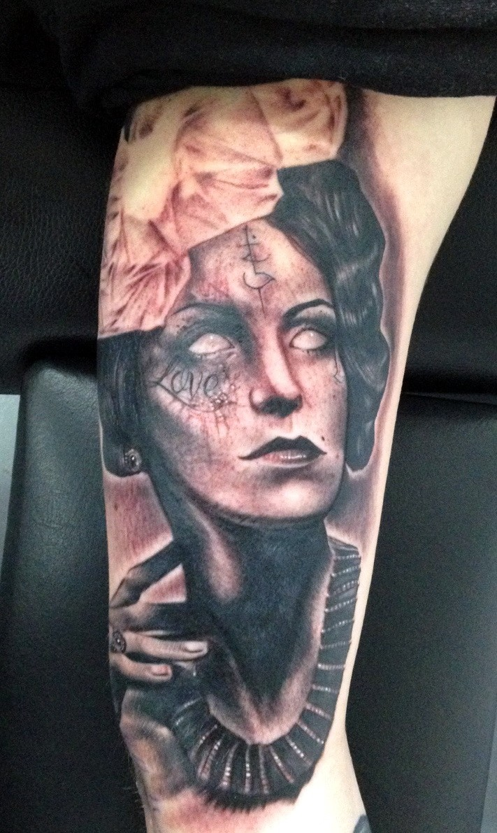 Spectacular black and gray style amazing looking woman portrait tattoo on arm