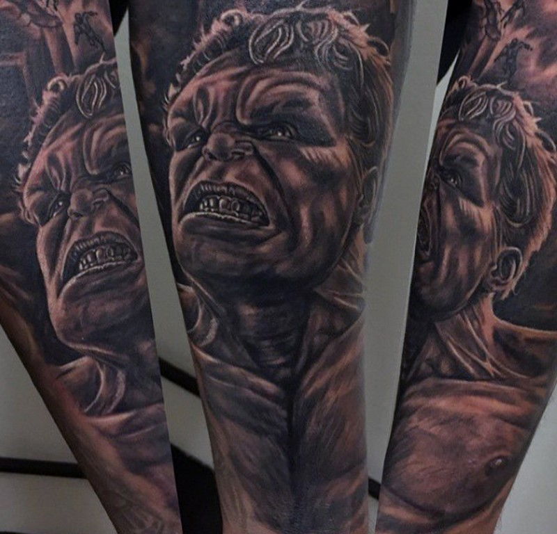 Spectacular black and white forearm tattoo of detailed Hulk portrait