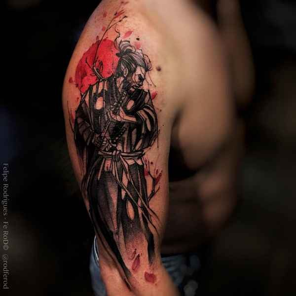 Spectacular black and white shoulder tattoo of samurai warrior with flower