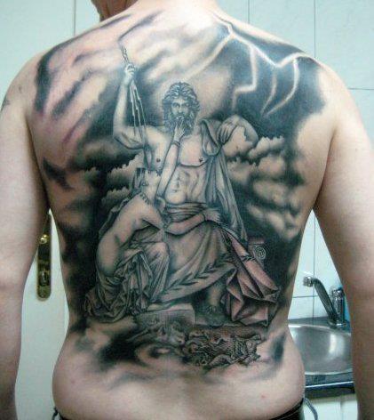 Spectacular black and white whole back tattoo on Zeus god