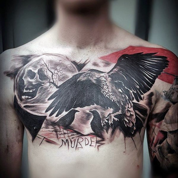 Spectacular black ink chest tattoo of creepy crow with dark moon and lettering