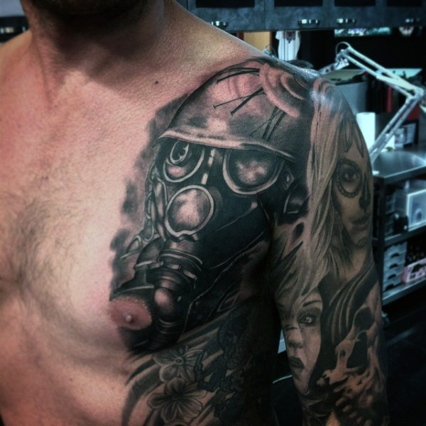 Spectacular black ink chest tattoo of gas mask and clock